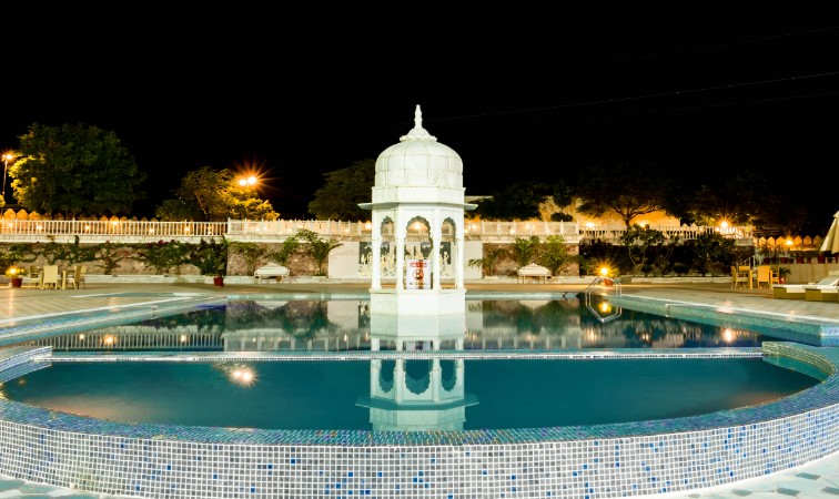 Nightview of the Pool at Pratap Mahal,Ajmer-IHCL SeleQtions